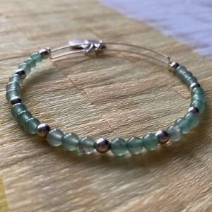 Alex and Ani green and silver beaded bangle